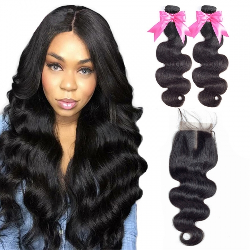 2 Bundles Body Wave Hair Weft With Transparent Lace Closure Beautiful 100% Natural