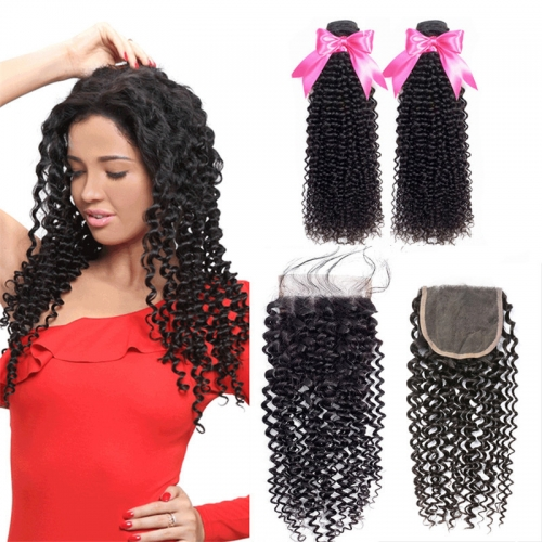 2 Bundles Kinky Curly Hair Weft With Lace Closure Human Hair With Baby Hair