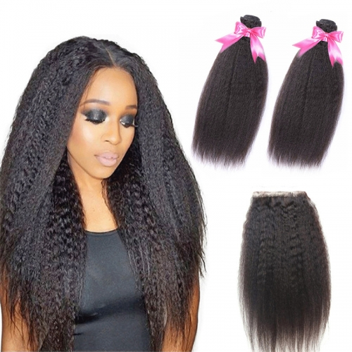 2 Bundles Kinky Straight Hair Weft With Lace Closure Top Quality Top Selling No Chemical