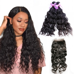 2 Bundles Water Wave Hair Weft With Lace Closure Natural Beautiful Soft New Arrival Can Be Dyed Hair Extensions