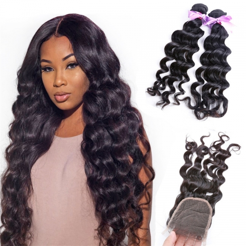 2 Bundles Natural Wave/Wavy No Tangle Human Hair With Transparent Lace Closure