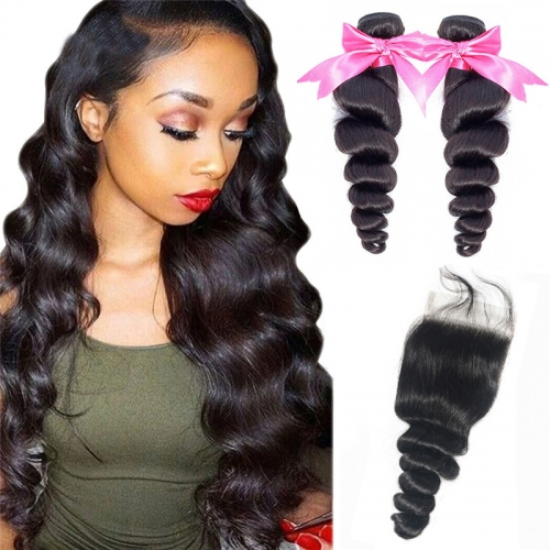 2 Bundles Loose Wave No Tangle No Shedding With Human Hair Lace Closure