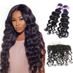 2 Bundles Natural Wave Wavy With Lace Frontal No Tangle Human Hair