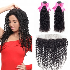 2 Bundles Kinky Curly Hair Weft With Lace Frontal Human Hair With Baby Hair