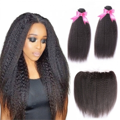 2 Bundles Kinky Straight Hair Weft With Lace Frontal Top Quality Top Selling No Chemical