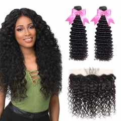 2 Bundles Deep Wave Hair Weft With 13x4 Lace Frontal