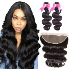 2 Bundles Body Wave Hair Weft With Lace Frontal Beautiful 100% Natural