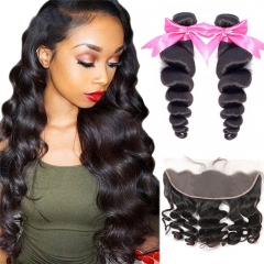 No Tangle No Shedding 2 Bundles Loose Wave With Human Hair Lace Frontal