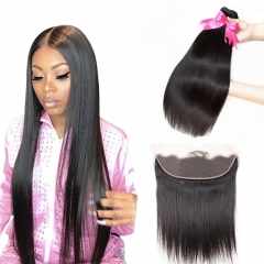 2 Bundles Straight Natural Color Hair Weft With Human Hair Lace Frontal