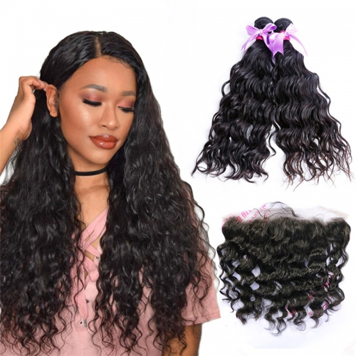 2 Bundles Water Wave Hair Weft With Lace Frontal Natural Beautiful Soft New Arrival Can Be Dyed Hair Extensions