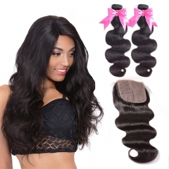 2 Bundles Body Wave Silk Base Closure With Hair Weaves Bundle Deals Full Head