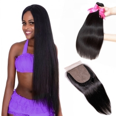 2 Bundles Straight Natural Color Hair Weft With Silk Base Closure Companies