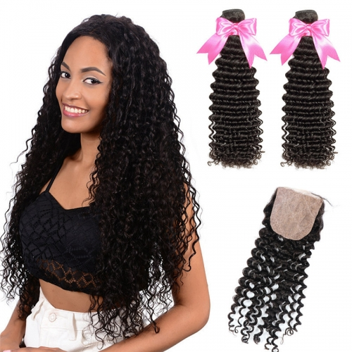 2 Bundles Hair Weaves With Silk Base Closure Deep Wave Human Hair Weft
