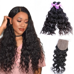 2 Bundles Water Wave Human Hair With Silk Base Closure Virgin Hair