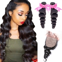 2 Bundles Loose Wave Human Hair Weaves With Silk Base Closure Full Head Sew In