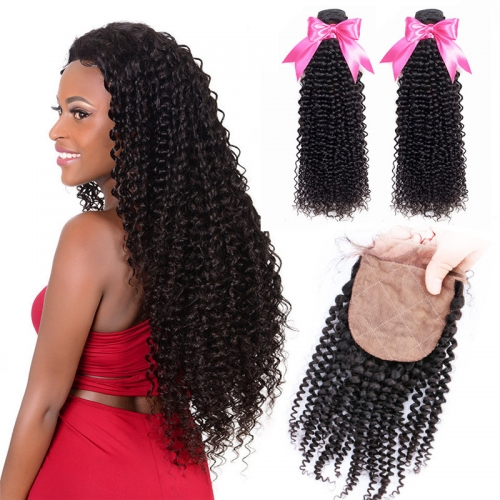 2 Bundles Kinky Curly And Silk Base Closure With Baby Hair Virgin Hair