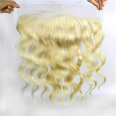 13x4 Lace Frontal Body Wave 613 Swiss Lace Hand Tied Human Hair Bleached Knots