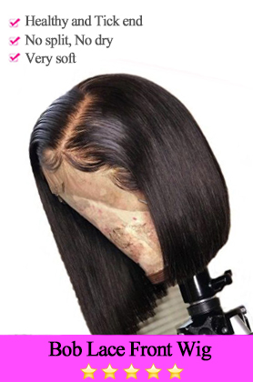 Straight 150% Density Bob Lace Front Wig Middle Part Natural Color Pre Plucked Hairline With Baby Hair