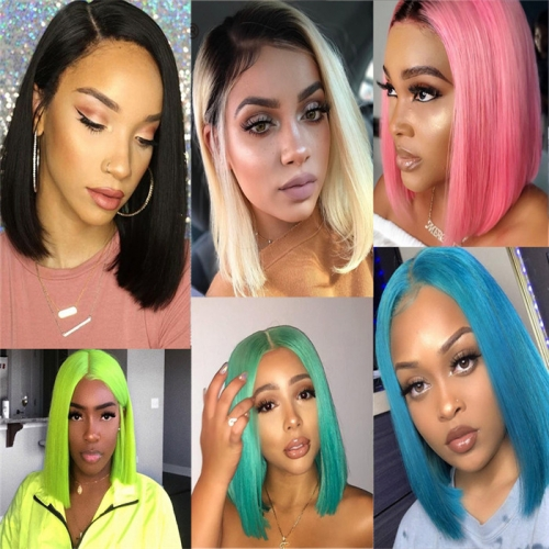Bob Wig Colorful With Two Colors Lace Front Wig Color Bobs Straight
