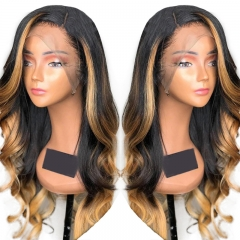 Highlight Lace Front Wig 1B 27 Body Wave Hair Side Part 13x4 Inches