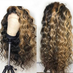 Honey Blonde Loose Wave Wig Human Hair Lace Front Wigs