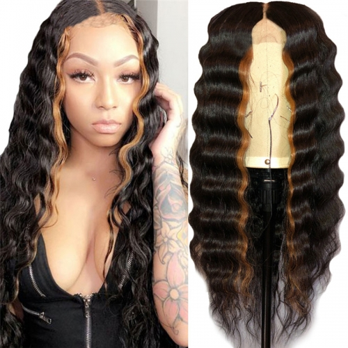 1b/30 Ombre Wig Deep Curly Wave Human Hair Lace Frontal Wigs