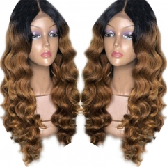 T1B 30# Ombre Human Hair Lace Front Wig With Dark Roots Loose Wave