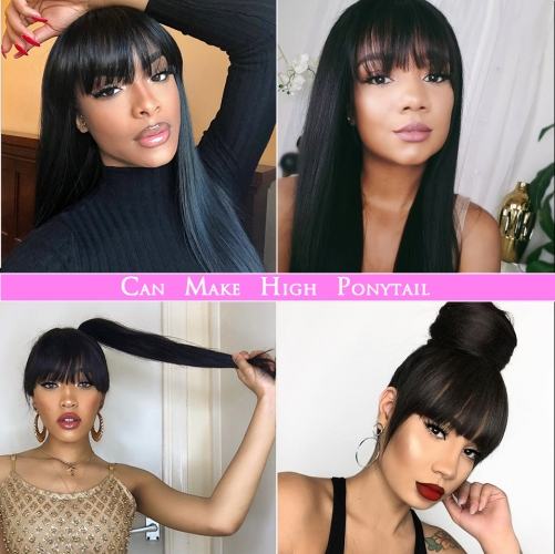 MerryHair HD Transparent Lace Wig Glueless Lace Front Wig With Bangs Straight 150 180 Density Human Hair Wig