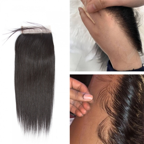 Brazilian Straight Hair HD Transparent Lace Closure Free/Middle/Three Part Remy Human Hair 4x4 Inch Swiss Lace Top Closure Bleached Knots