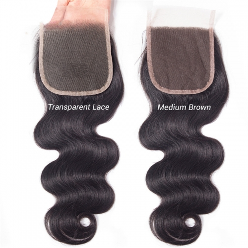 Brazilian Bady Wave Hair HD Transparent Lace Closure Free/Middle/Three Part Remy Human Hair 4x4 inch Swiss Lace Top Closure Factory Wholesale Price Bl