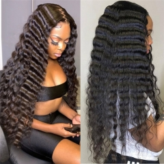 Merry Hair Natural Deep Wave Transparent Lace Wig Curly Hair Vendors