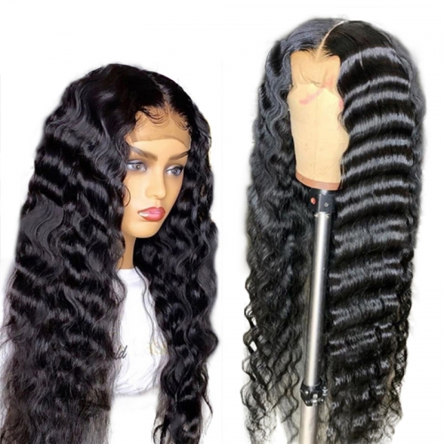 Cheap New Style 13x4 Inches Deep Wave Natural Curly Transparent Full Lace Human Hair Wigs