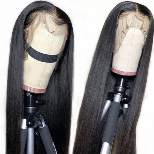 Straight Lace Front Wig Natural Headline Bleached Knots Can Be Permed Transparent Lace