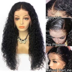 Water Wave Lace Front Wig 300% Density Average Size Hand Tied Glueless Black Color