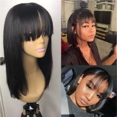 Straight 150% Density Bob Lace Front Wig Free Part Natural Color  Pre Plucked Hairline