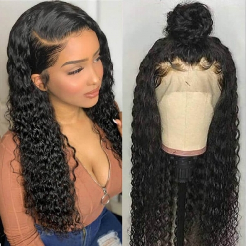 13x6 Lace Front Wig Deep Wave Curly Pre Plucked Hairline No Chemical Processing Hand Tied Human Hair
