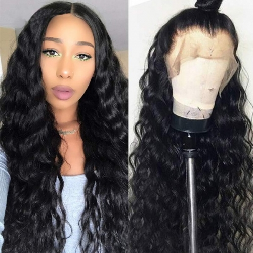 Natural Wave Wavy HD Transparent Lace Front Wig Bleached Knots Suitable Dying Colors With Baby Hair Pre Plucked Hairline