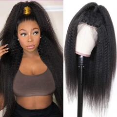 Kinky Straight 360 Lace Front Wig 180% Density Average Size Glueless Natural Headline Human Hair