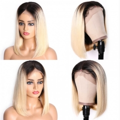 Straight Bob Lace Front Wig 1B/613 Color Wigs 150% Density With Baby Hair Remy Hair Natural Headline Suitable Dying Colors