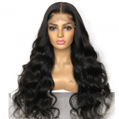 BodyWave Lace Front Wig 300% Density No Shedding No Tangle Black Color Average Size Bleached Knots