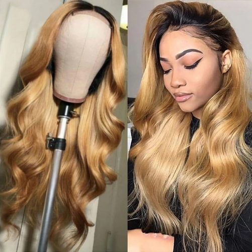Color Full Lace Wig BodyWave 1B/#27 Ombre Color For Women Long Virgin Hair