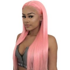 Pink Color Full Lace Wig Straight Glueless 130% Density 100% Human Wigs Full Lace Wig