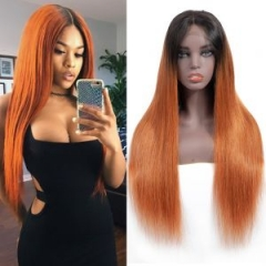 Straight T1B Orange Root Color Lace Front Wig Average Size No Chemical Processing Can Be Permed Pre Plucked Hairline