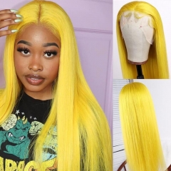 Custom yellow Color Lace Front Wig Natural Headline Remy Hair Natural Color No Chemical Processing