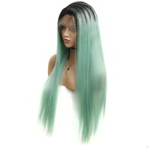 Color Full Lace Wig Straight 1B/green  Root Ombre Color Top Quality For Women Long Straight Virgin Hair
