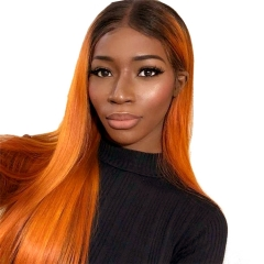 Color Full Lace Wig Straight T1B/Orange Root Ombre Color Glueless 130% Density 100% Human Wigs