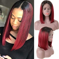 Straight Bob Lace Front Wig 1B/99J Color Wigs 150% Density Virgin Human Hair Wig