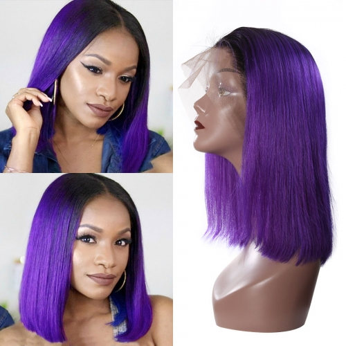 Straight Bob Lace Front Wig 4# Color 150% Density Glueless Can Be Permed Natural Color Hand Tied