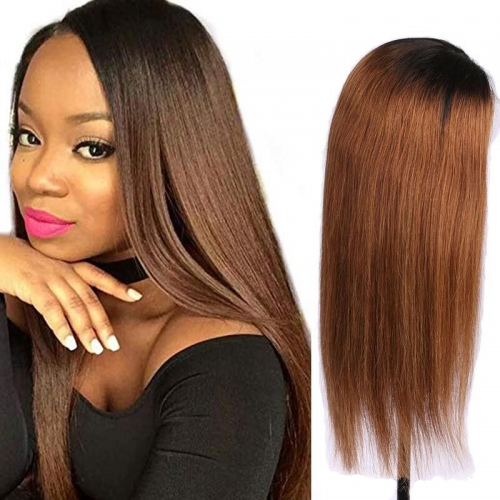 MerryHair T1B 30# Ombre  HD Transparent Lace Wig Glueless Lace Front Human Hair Wigs Brazilian Human Hair Lace Front Wig With Dark Roots Loose Wave