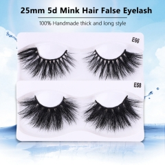 25MM False Eyelashes Pure Handmade Thick Long Eyelash 5d Mink Hair False Eyelashes